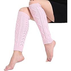 Goodsatar Mujeres Invierno Acrílico Calentadores de piernas Cable Punto crochet Calcetines largos 42 cm (Rosa)