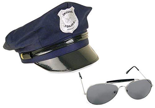 KarnevalsTeufel Zubehör - Set Polizist / Polizistin für Erwachsene, 2-TLG. Mütze (Gr. 58 cm) und Pilotenbrille, dunkelblau | Police, Kostüm, Karneval, Junggesellenabschied