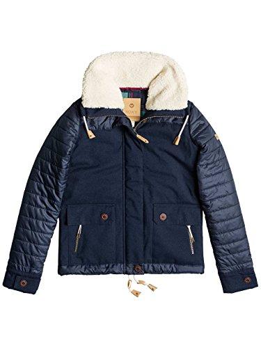 Roxy Ladies Jasmin Fur Collar Insulated Coat, Navy Peacoat