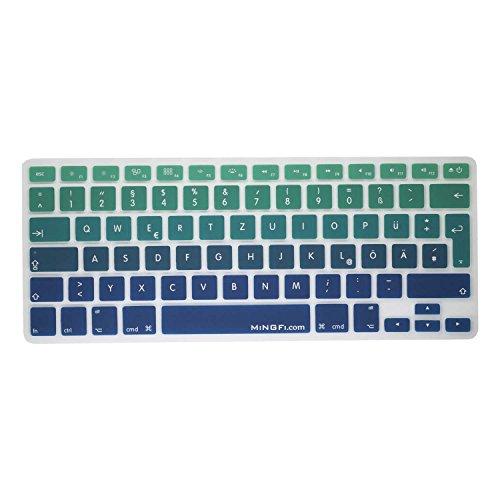 MiNGFi Deutsche Tastatur Silikon Schutz Abdeckung QWERTZ für MacBook - Grün zu Blau
