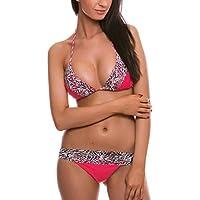 Costume donna RELLECIGA top bikini a triangolo push up morbido in pizzo con laccetti stampa animale