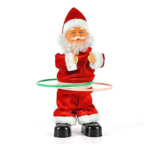 Boruit electric babbo natale canta e girare hula hoop natale electric doll giocattoli per bambini regalo di natale (30cm)