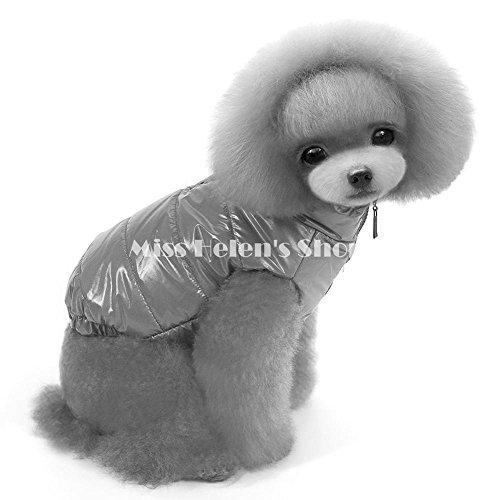 Candy Farbe Cute Puppy Hund Kleidung Winter wasserdicht Gepolstertes warme Weste Katzen Hunde Reißverschluss Hund Fell Jacke Kostüme, grau, L