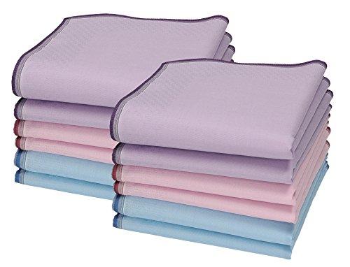 Betz 12 Stück Damen Stoff Taschentücher Set Chanelle 1 Größe 30x30 cm 100% Baumwolle Farbe Dessin 86