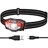 VicTsing Linterna Frontal LED USB Recargable,IPX6 Impermeable Linterna de Cabeza Super Ligera 90°Ajustable,6 Modos de Luz con Luz Roja y hasta 6 Horas para Acampada,Pescar,Senderismo,Lectura,Caza