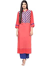 Jaipur Kurti Peach & Blue Embroidered Kurta With Palazzo Trousers