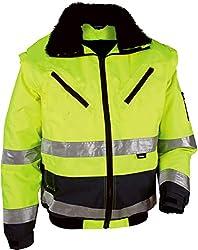 """4 in 1 Warnschutz-Pilotenjacke""""THOSA"""", Grösse XL, abnehmbare Ärmel, herausnehmbares Fell, wasserdicht, gelb"""