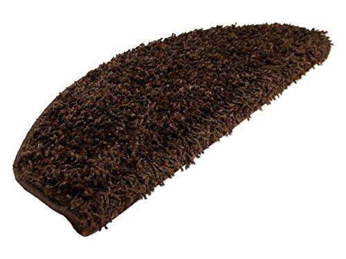 Hochflor Langflor Shaggy Stufenmatten (halbrund) Nova Braun einzeln oder im 15er Set in 2 Größen, Größe / Menge:18x56 cm = 1 Stck.