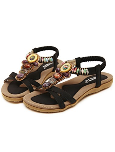 Vogstyle Donne Nuove Sandali Scarpe Stile Bohemian Pantofole A Tacco Piatto Stile-7 Nero