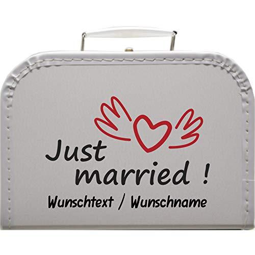Hochzeitskoffer Just Married mit Wunschtext, Pappkoffer mit Trim Koffergröße 30 x 20,5 x 9 cm, Farbe weiß