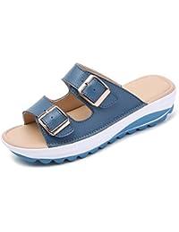 CARETOO Sandali Donna Eleganti Estivi Donna Pantofole Colore Puro Boemia  Semplice Ciabatte Scarpe Basse Pantofole da Spiaggia… e24e8a46625