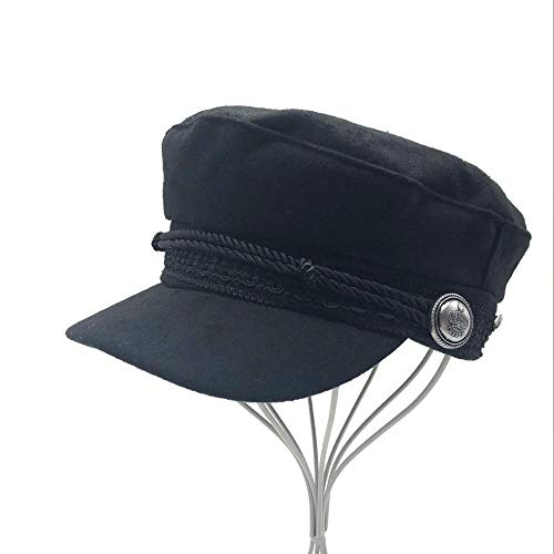 DWcamellia Hut Winter Hats for Women Men Octagonal Cap Button Baseball Caps Sun Visor Hat Touca Black Casual,Black