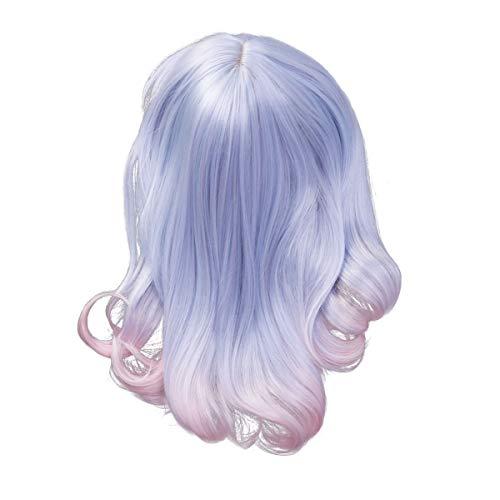 Frcolor parrucca cosplay ondulata azzurra mista rosa per la festa di halloween