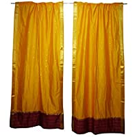 Mogul Interior Yellow Sari Curtains 2 Panels Rod Pockets Boho Window Treatment Drapes 96x44
