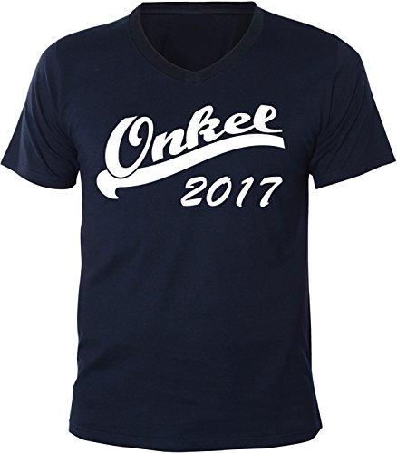 Mister Merchandise Herren Men V-Ausschnitt T-Shirt Onkel 2017 Tee Shirt Neck bedruckt Navy