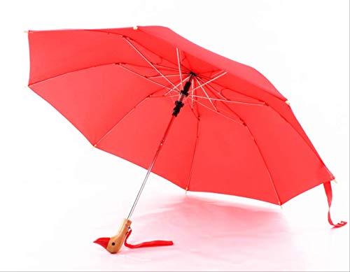 Mhsm Regenschirm, süßer Holz-Entengriff, Handwerk Regen und Sonnenschirm, Winddicht, doppelfaltbar, Paragua-Regenschirm für Damen, Herren, Kinder, Blau