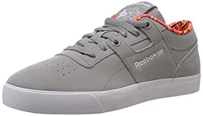 Reebok Classics Men's Workout Low Clean Fvs Gf Flat Grey,White,Solar Orange and Stinger Yellow Leather Training Shoes - 14 Uk
