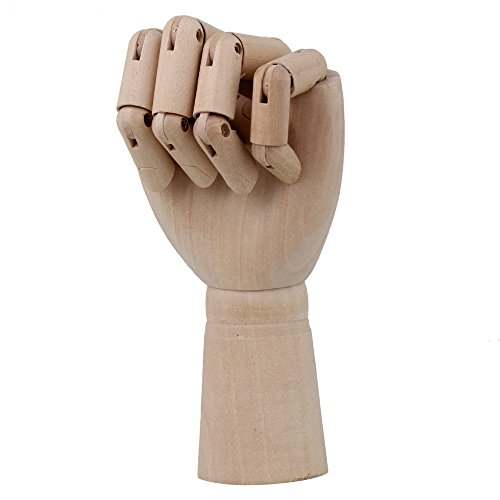 BQLZR Wooden Left Hand Body Artist Model Jointed Articulated Flexible Fingers Wood Sculpture Mannequin