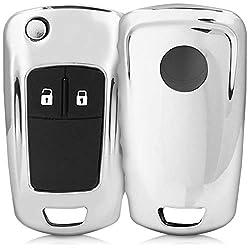 kwmobile Autoschlüssel Hülle für Opel Vauxhall - TPU Schutzhülle Schlüsselhülle Cover für Opel Vauxhall 2-3-Tasten Klappschlüssel Autoschlüssel Hochglanz Silber