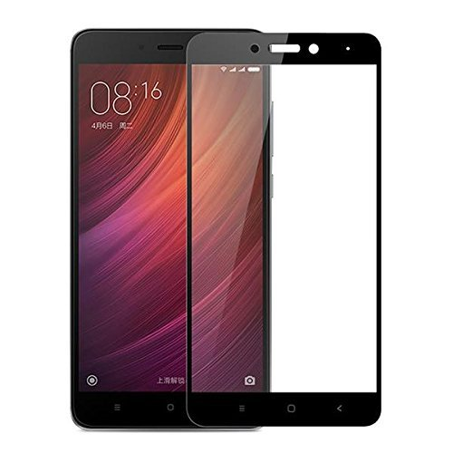Dashmesh Shopping Edge to Edge Full Glue No Rainbow, No Dots, Perfect Glass Full Front Body Cover Tempered Full Glass For Redmi Note 4 - Jet Black