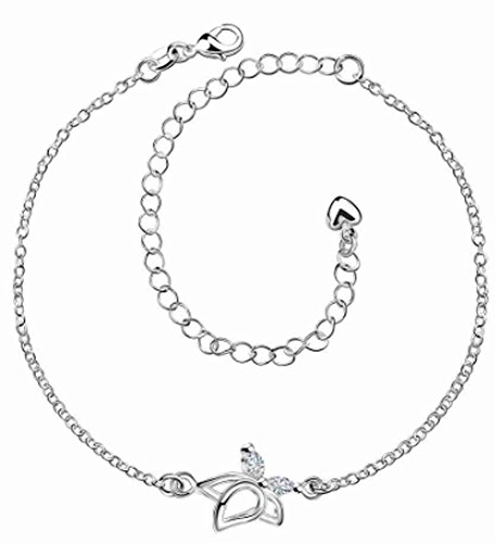 SaySure - Silver plated bracelet anklets Flower in full bloom
