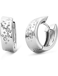 Miore Damen-Creolen 925 Sterling-Silber hochglanzpoliert mit Zirkonia MSM067E