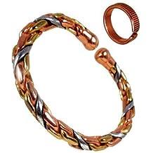 203d95c1ca7a ... Trenzado Tipo Cuerda Gruesa con Líneas Grabadas Juego Combinación para  Hombre o Mujer - Talla de Anillo Grande  22 - 25 mm. de The Online Bazaar