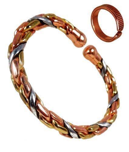 The Online Bazaar Magnet Kupfer, Messing und Aluminium schwer seil-armband und geätzten lines-finish Kupfer Magnetring Kombi Geschenkset für Herren oder Damen - Small RING SIZE: 16-18mm -