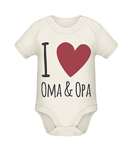 Babybody mit Aufdruck | I love Oma und Opa | Strampler Babybody von Shirtinator® Organic Natural 0-3 mths (Kleidung Mth)
