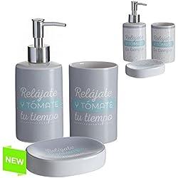 Accesorios de baño original con mensaje de cerámica para cuarto de baño Factory (Gris)
