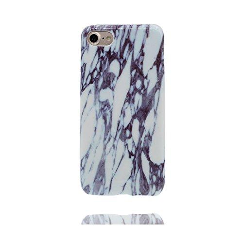 Copertura iPhone 7, iPhone 7 Copertura, Design morbido / Marmo Design / CASE Slot Flexible Snap su COVER in pietra naturale per iPhone 7 (4.7 ) / bianca + Nero bianca + Nero Stripe
