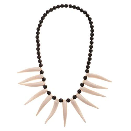MagiDeal Höhlenmensch Zahn Halskette mit Kunststoff Perlen Urmensch Anhänger Party Deko