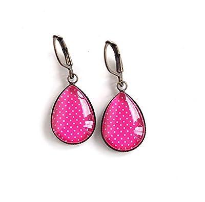 Boucles d'oreilles Cabochon, Gouttes, Fushia Rose, Petit Pois, bronze ou argenté