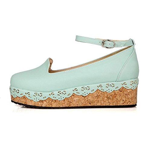 AgooLar Damen Weiches Material Rund Zehe Niedriger Absatz Schnalle Rein Pumps Schuhe Blau