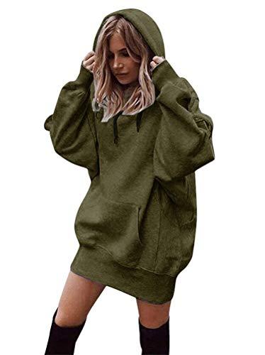 Minetom Femme Mini Robe Pull Sweat À Capuche Casual Manches Longue Kangourou Poches Automne Hiver Mode Lâche Blouson Tunique Tops A Vert Armée 42