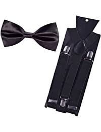 WHOLESOME DEAL men's black suspender and black neck bow tie(combo)(lawrq002)