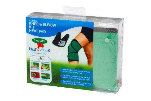 Für Knie und Ellenbogen: Wärmeset – Elastisches Set aus zwei therapeutischen Wärmekissen von Heat in a Click, tragbar, wiederverwendungsfähig, mit unmittelbarer Wärmeentwicklung (Packung und Farben weichen möglicherweise ab)