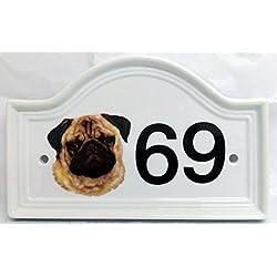 Placa de número de puerta perro carlino