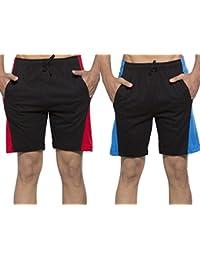 Clifton Men's Shorts MB05 Pack Of 2-Black-Red-Black-Royal Blue