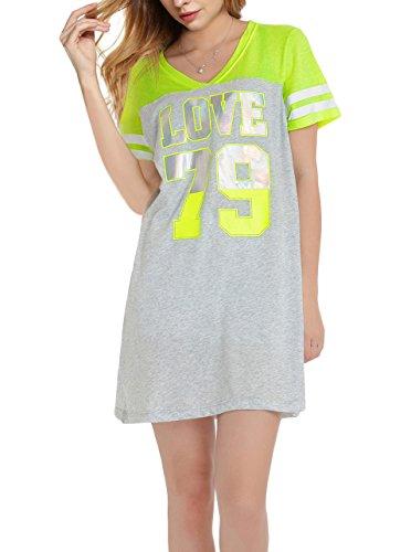 Damen Lockere V-Ausschnitt Nachthemd Kurz Sleepshirt Grün/Grau