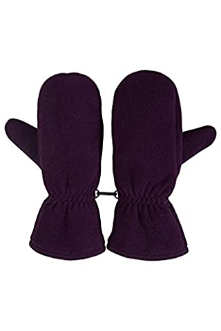 Mountain Warehouse Fleece Women's Mitten - Fleece Lined, Elasticated Cuff for Fit & Comfort with Textured Palm & Thumb for Improved Grip - Ideal Accessory for Winter Purple