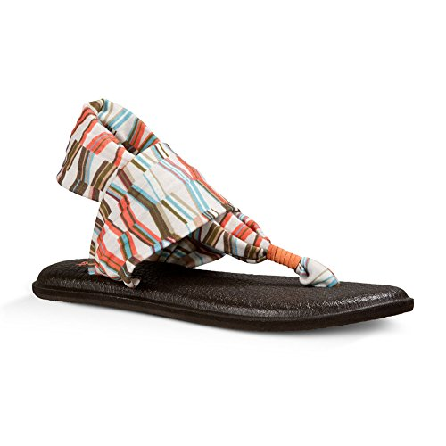 Sanuk Yoga Sling Toile Sandale Multicolore - Ivory/Spiced Coral