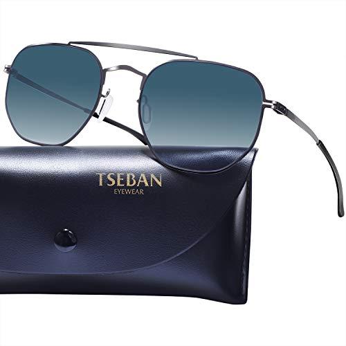 TSEBAN Verspiegelte Damen Herren Sonnenbrille mit Superleichten Edelstahlrahmen, UV400 Anti-Impact Nylonlinsen (Blau Verlauf)