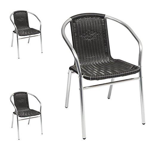 3 Sück Qualität von Mojawo Aluminium / Polyrattan Bistrostuhl stapelbar Stapelstuhl Campingstuhl...