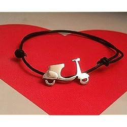 Joyas moto Vespa, pulserera y pendientes de plata