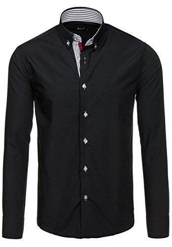 BOLF Mens chemise en casual shirt hommes Scène Slim Fit Classique 2B2 Noir