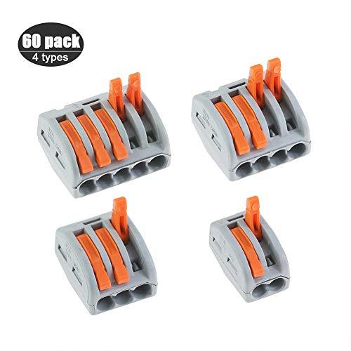 Hebel-Mutter-Kompaktdrahtverbinder, 60er Pack Sortiment Leiter, 2/3/4/5 Anschlussklemmenblock Kabelsteckverbinder (PCT-212/213/214/215) -