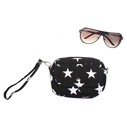 BZLine® Frauen Taschen Mini kleine Messenger Cross Body Handtasche Schultertasche, 16*13*5.5cm Schwarz