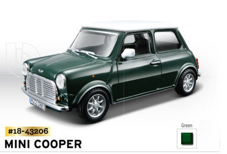1969-mini-cooper-green-with-white-roof-1-32-scale-diecast-model-from-bburago