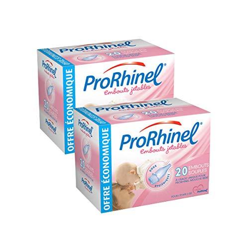 ProRhinel Lot de 2 x 20 Embouts Jetables Souples pour Mouche Bébé